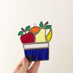 Vintage Fruit Stained Glass Window Cling Kitchen